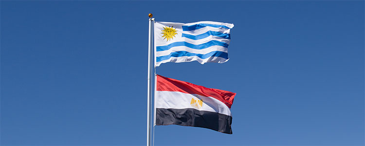 Group A: Uruguay and Egypte - World Cup 2018 Flags