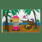 Pirate Girl on treasure island - 3x5 ft Flag