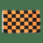 Drapeau à Damier Noir-Orange - 90 x 150 cm