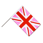 Drapeau Union Jack rose Hampe ECO - 60 x 90 cm