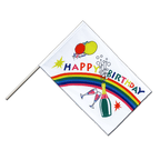 Drapeau Happy Birthday Hampe ECO - 60 x 90 cm