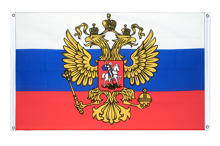 Banner Flag Russia with crest - 3x5 ft (90x150 cm), landscape