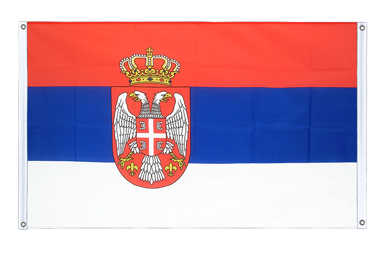Banner Flag Serbia with crest - 3x5 ft (90x150 cm), landscape
