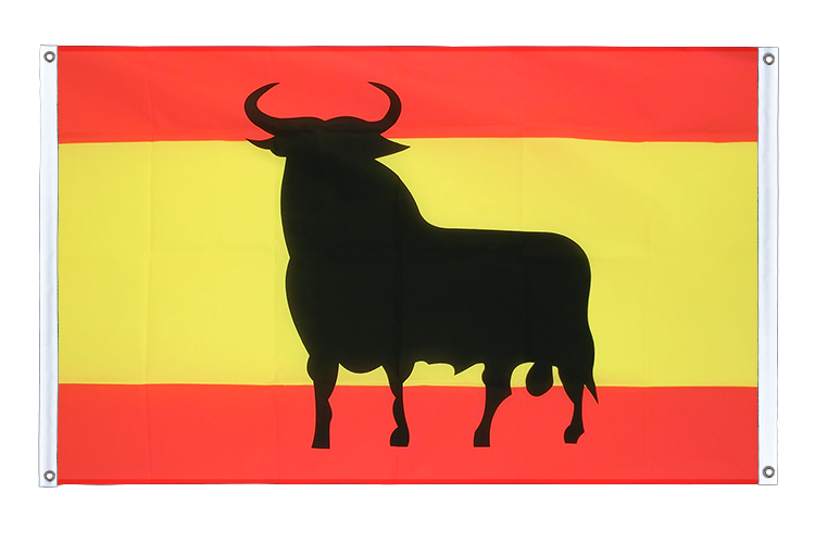 Banner Flag Spain with bull - 3x5 ft (90x150 cm), landscape