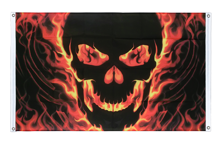 Banner Flag Skull with Fire - 3x5 ft (90x150 cm), landscape