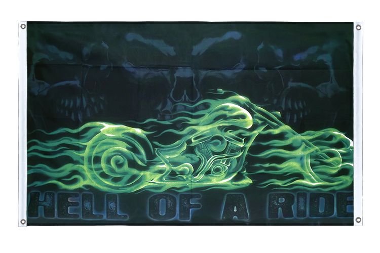Banner Flag Skull Hell of a Ride - 3x5 ft (90x150 cm), landscape