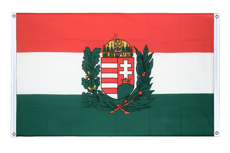Banner Flag Hungary with crest - 3x5 ft (90x150 cm), landscape