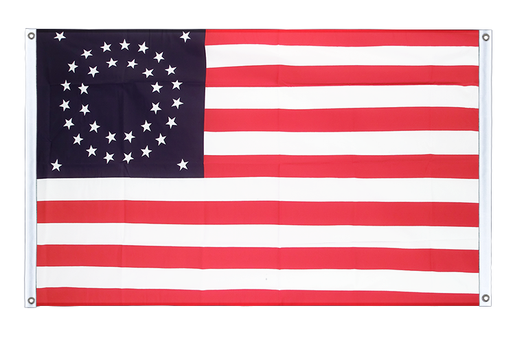 Bannerfahne/Bannerflagge USA 35 Sterne Betsy Ross 1867-1877 - 90 x 150 cm, quer mit VA Ösen