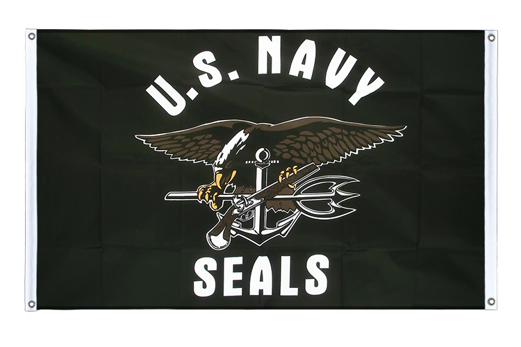 Banner Flag USA Navy Seals - 3x5 ft (90x150 cm), landscape