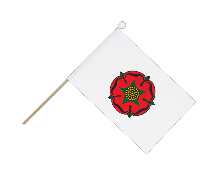 Hand Waving Flag Lancashire red rose - 6x9""