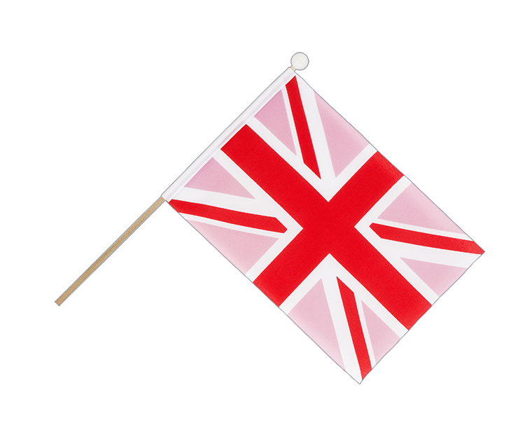 Drapeau Union Jack rose sur hampe 15 x 22 cm