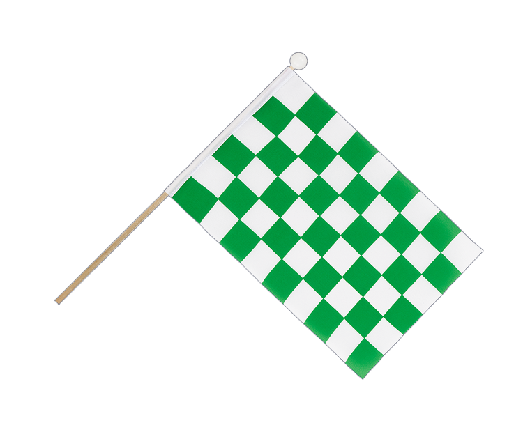 Hand Waving Flag Checkered Green-White - 6x9""