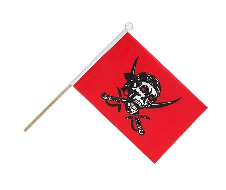 Drapeau sur hampe Pirate rouge 15x22 cm