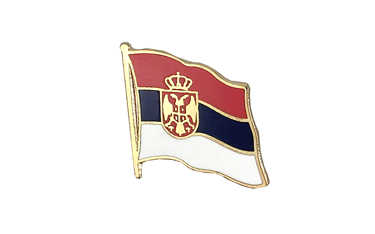 Flag Lapel Pin Serbia with crest