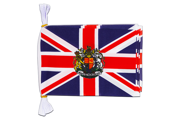 "Mini Flag Bunting Great Britain with crest - 6x9"", 3 m"