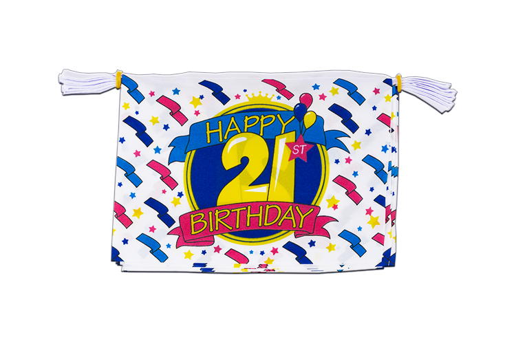 "Mini Flag Bunting Happy Birthday 21st - 6x9"", 3 m"