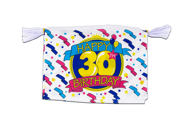 "Mini Flag Bunting Happy Birthday 30th - 6x9"", 3 m"