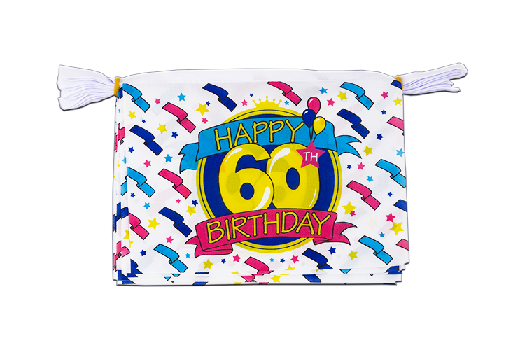 Mini Guirlande Happy Birthday 60 ans - 15 x 22 cm, 3 m