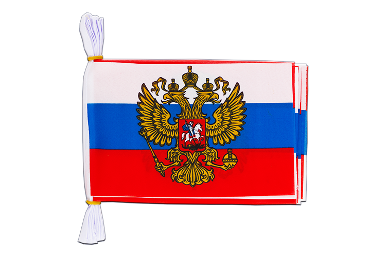 "Mini Flag Bunting Russia with crest - 6x9"", 3 m"