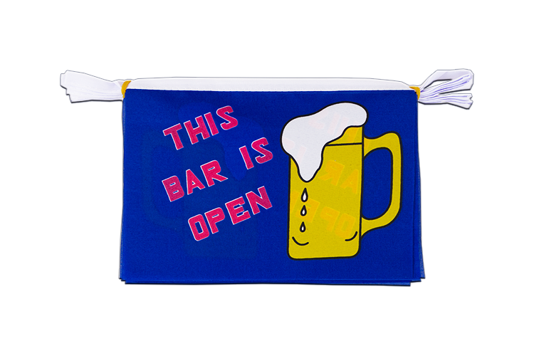 This Bar Is Open - Fahnenkette 15 x 22 cm, 3 m