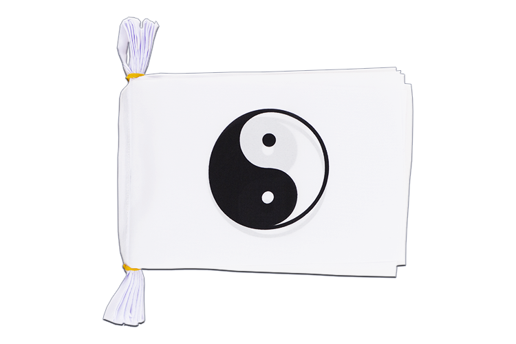 "Ying and Yang, white Flag Bunting 6x9"", 3 m"