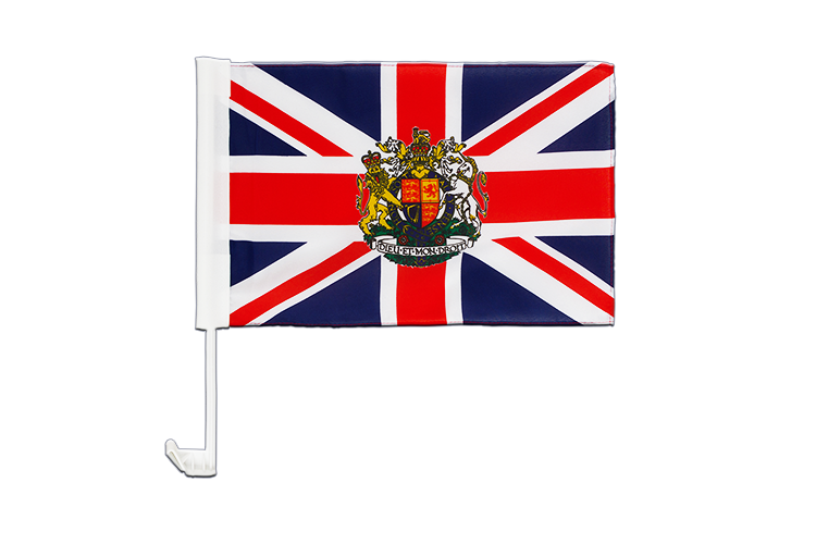 Car Flag Great Britain with crest - 12x16""