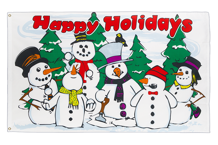 3x5 Happy Holidays Snowmen Flag