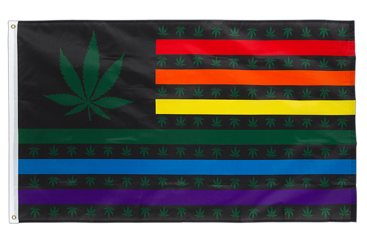Marijuana USA Leaf Rainbow - 3x5 ft Flag