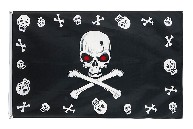 Pirate Bones and skulls red eyes - 3x5 ft Flag