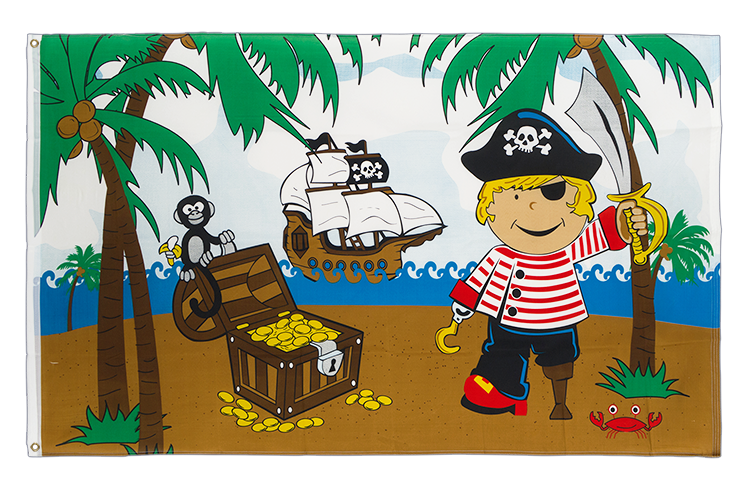 Pirate Boy on treasure island - 3x5 ft Flag