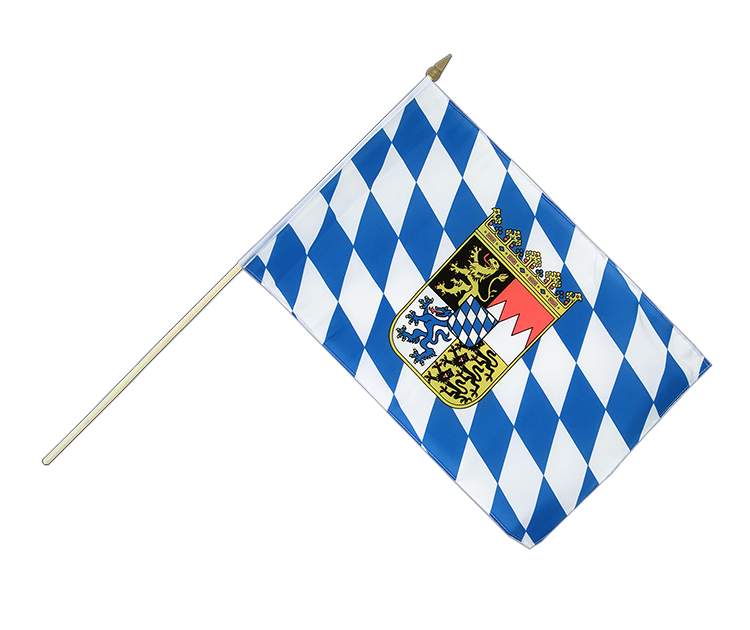 "Hand Waving Flag Bavaria with crest - 12x18"" (30 x 45 cm)"
