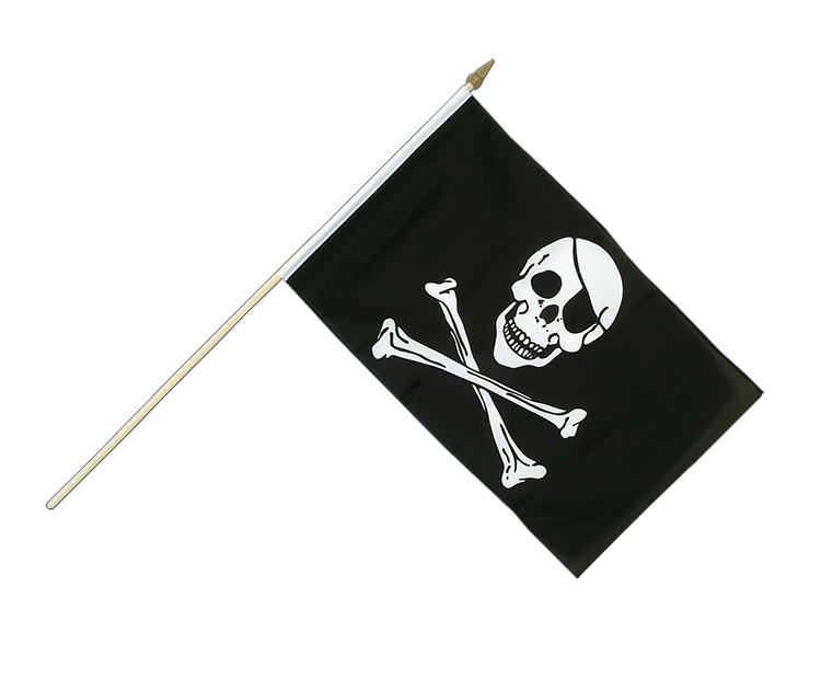 "Hand Waving Flag Pirate Skull and Bones - 12x18"" (30 x 45 cm)"