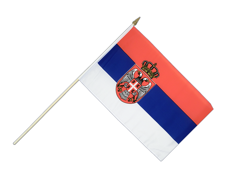 "Hand Waving Flag Serbia with crest - 12x18"" (30 x 45 cm)"