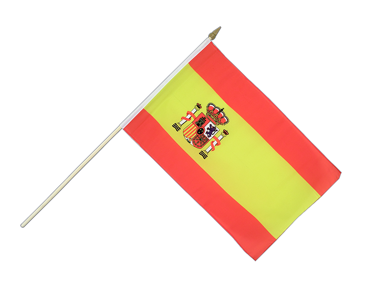 "Hand Waving Flag Spain with crest - 12x18"" (30 x 45 cm)"