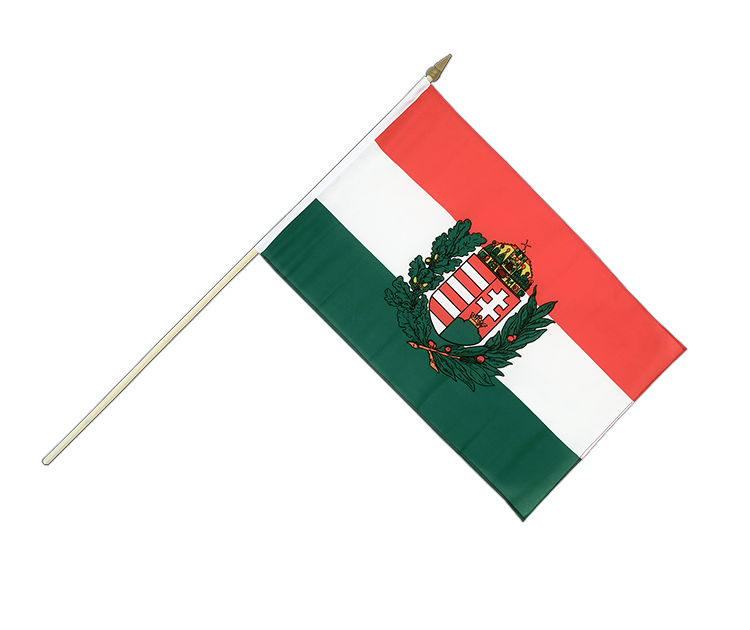 "Hand Waving Flag Hungary with crest - 12x18"" (30 x 45 cm)"