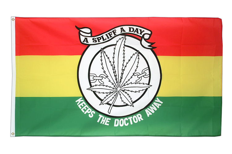 Vente drapeau Cannabis - A spliff a day keeps the doctor away