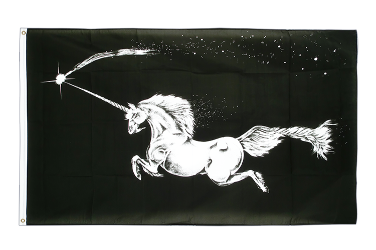 3x5 Unicorn black Flag