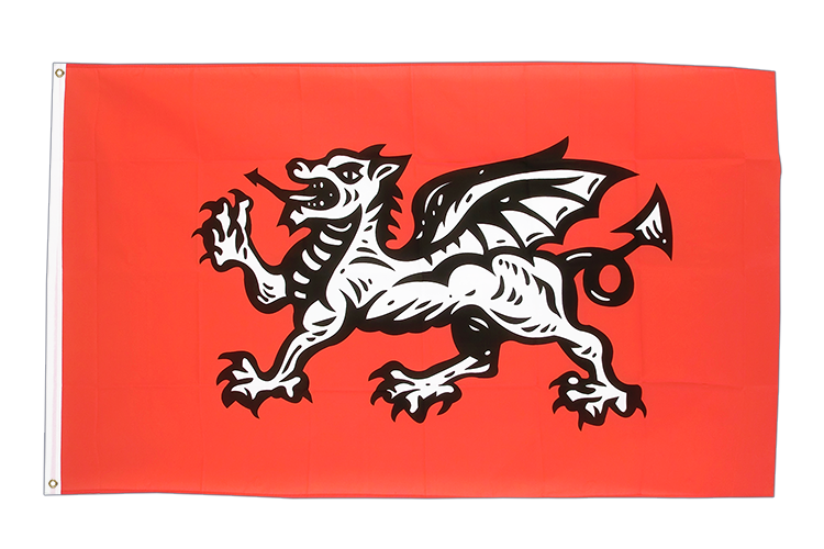 3x5 England white dragon Flag