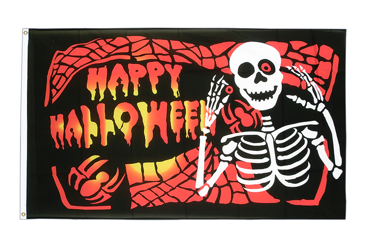 Happy Halloween Skelett Flagge 90 x 150 cm