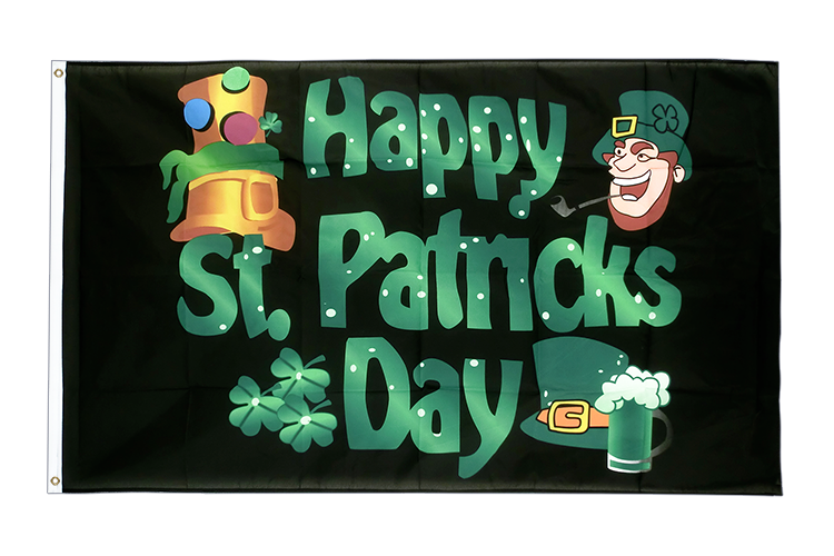Happy Saint Patrick's Day St Patrick's Black - 3x5 ft Flag