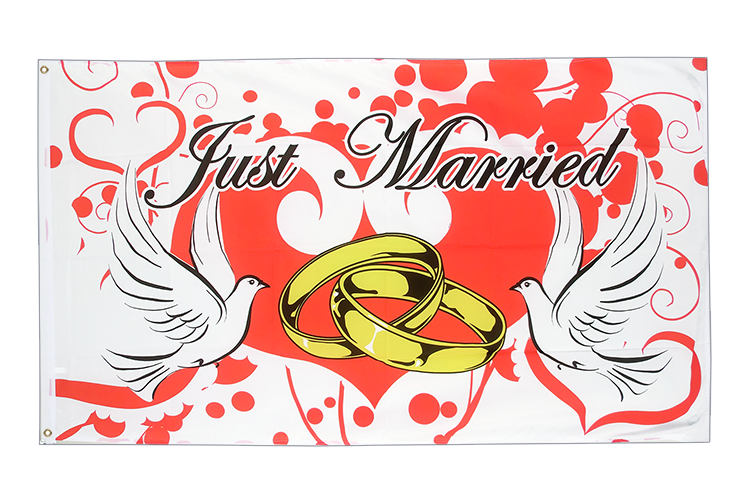 Vente drapeau Mariage Just Married