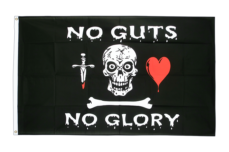 Drapeau Pirate no guts no glory 90 x 150 cm