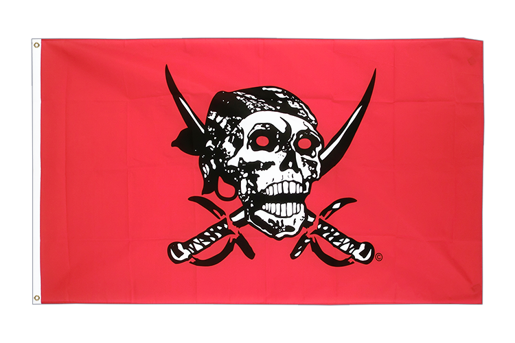 Vente drapeau Pirate rouge