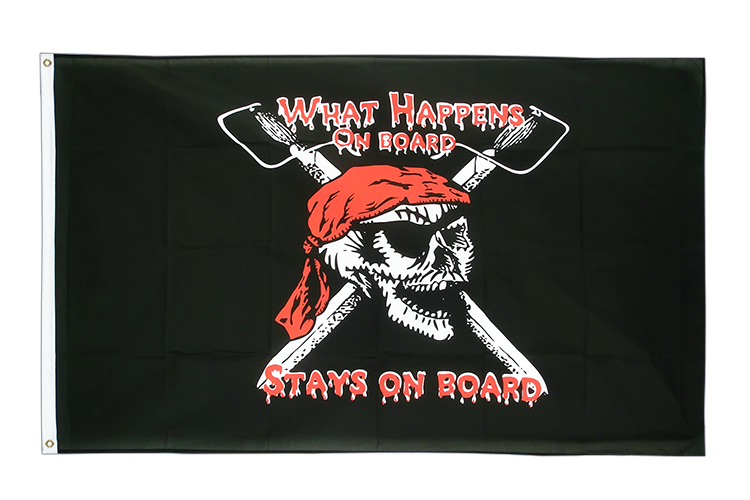 Vente drapeau Pirate What happens on board stays on board