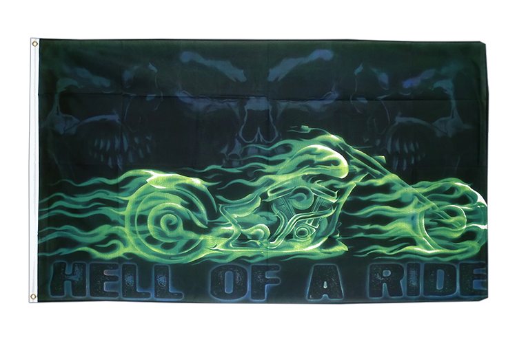 Skull Biker Hell of a Ride - 3x5 ft Flag
