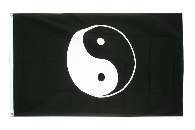 3x5 Ying and Yang black Flag