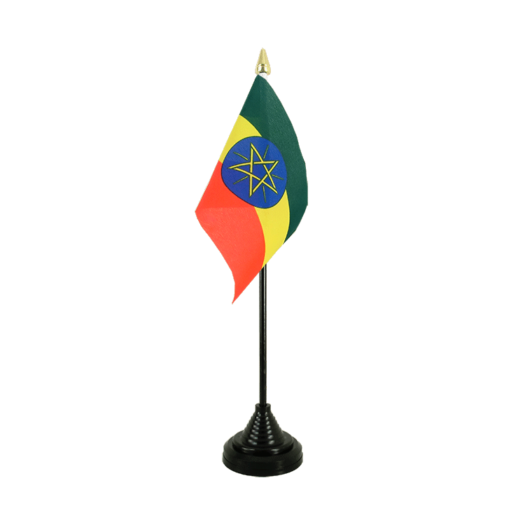 "Desk and Table Flag Ethiopia with star - 4x6"" (10 x 15 cm)"