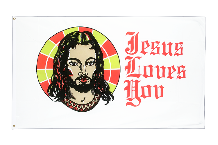 Drapeau pas cher Jesus Loves You 60 x 90 cm