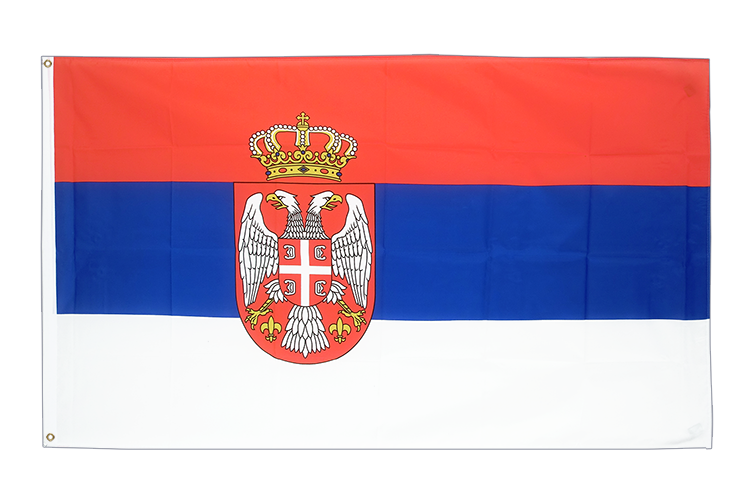 Cheap Flag Serbia with crest - 2x3 ft