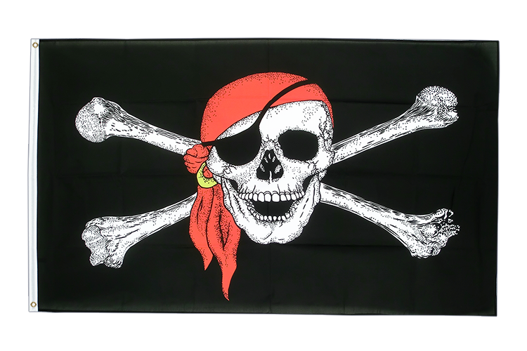 Grand drapeau Pirate avec foulard 150x250cm